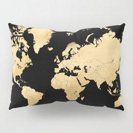 Sleek black and gold world map Pillow Sham