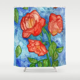 Peachy Colored Roses Shower Curtain