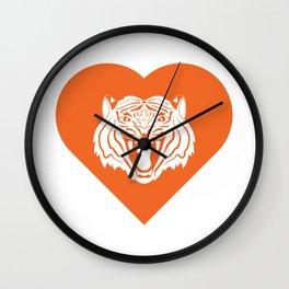 Tiger Mascot Cares Orange Wall Clock