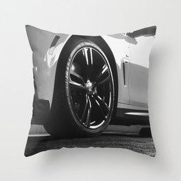 Black Rim Sports Car // White Paint Street Level B&W German Bavarian Motor Automobile Photograph Throw Pillow