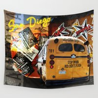 san diego Wall Tapestries featuring SAN DIEGO by MFY ★ design lab