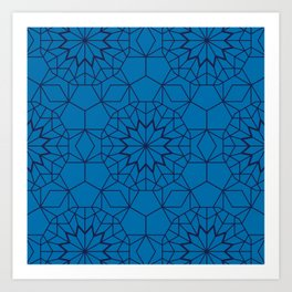 Teal Blue Geometric Pattern Art Print