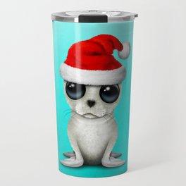 Christmas Arctic seal Wearing a Santa Hat Travel Mug