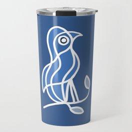 Bird on a Twig in Blue Travel Mug