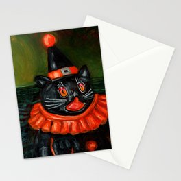 Black Cat Clown Stationery Cards