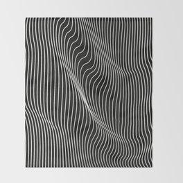 Minimal curves black Throw Blanket