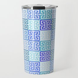 Greek Keys in Monochrome Blue Multi Travel Mug