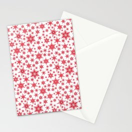 Red snowflakes on white. Stationery Cards