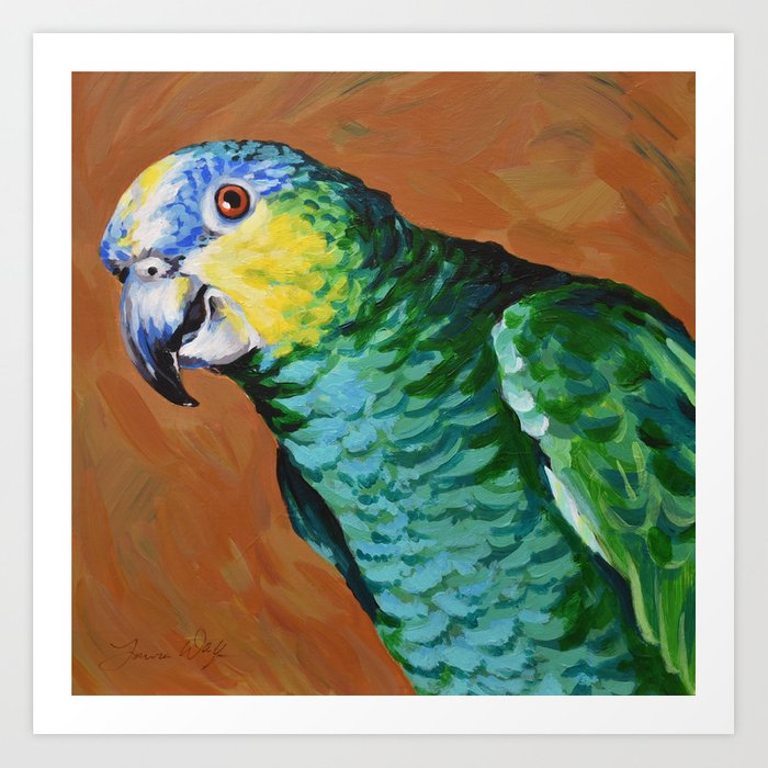 Blue Fronted Amazon Parrot Art Print By Laurawolf Society6
