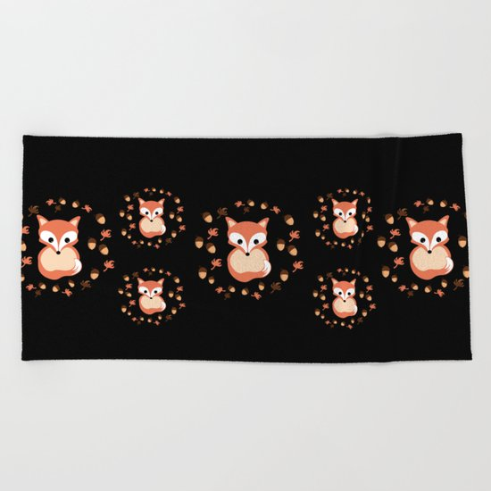 foxes in autumn. Pattern. Beach Towel