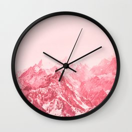 Mountains Red Wall Clock