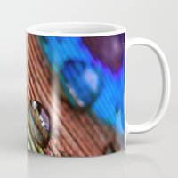 peacock feather Mugs featuring peacock feather by Falko Follert Art-FF77