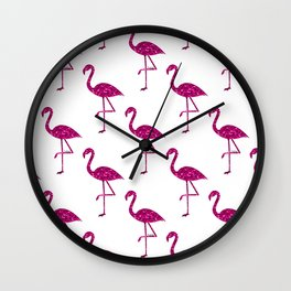 Sparkly flamingo Pink glitter sparkles pattern Wall Clock
