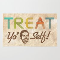 treat yo self Area & Throw Rugs featuring Treat Yo' Self by See No Evil