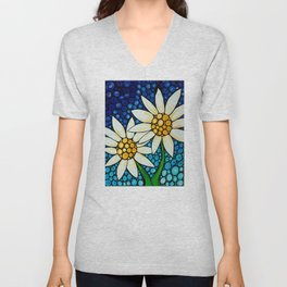 Bathing Beauties - Two best friends...white daisies...by Sharon Cummings.  Labor of Love series. Unisex V-Neck