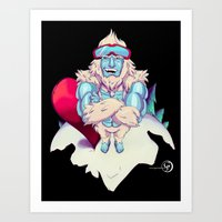 snowboard Art Prints featuring Snowboard Yeti [black background] by garciarts