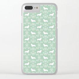 Corgi silhouette florals dog pattern mint and white minimal corgis welsh corgi pattern Clear iPhone Case