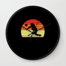 Retro sunset female volleyball player Wall Clock