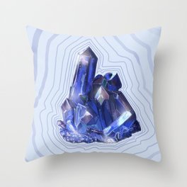 Blue Crystal Throw Pillow