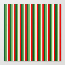 Green, Star White And Red Clover Pinstripes Canvas Print