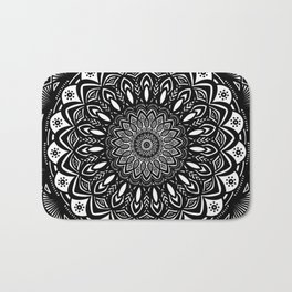 Bold Mandala Black and White Simple Minimal Minimalistic Bath Mat