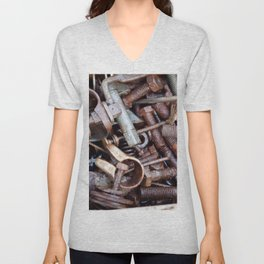 old rustry screw,nuts and bolt Unisex V-Neck