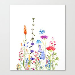 colorful wild flowers watercolor painting Canvas Print