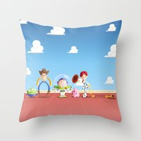 toy story Throw Pillows featuring TOY STORY by Ana Xoch Guillén