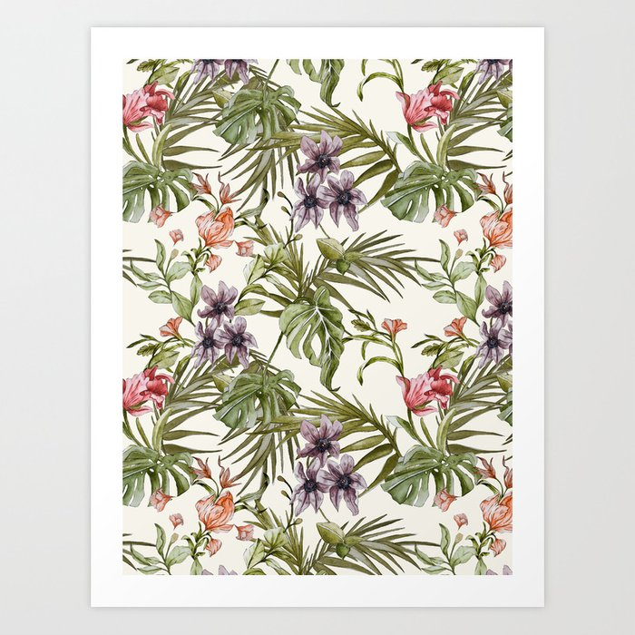 Watercolor tropical foliage Art Print