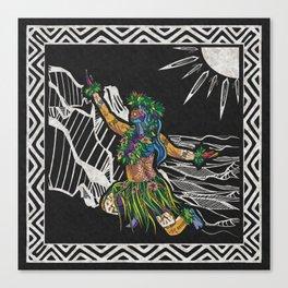 Polynesian Hula Dancer Tapa Print Canvas Print