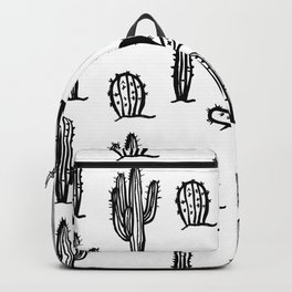 Black cactus seamless pattern on white background. Backpack