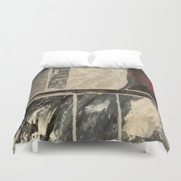 Textured Marble Popular Painterly Abstract Pattern - Black White Gray Red Duvet Cover