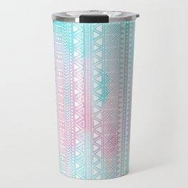 Hand Drawn African Patterns - Pastel Pink & Turquoise Travel Mug