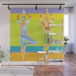 Simple silhouettes of women doing yoga Wall Mural