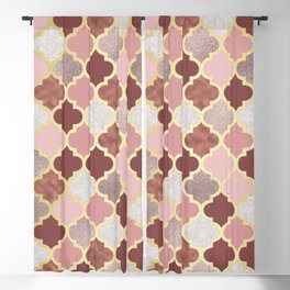 Warm rose gold moroccan Blackout Curtain