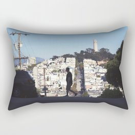 Silhouette from Near Lombard Looking Toward Coit Tower, San Francisco Rectangular Pillow