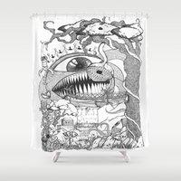 gore Shower Curtains featuring Monster's Garden! by Davide Vitiello