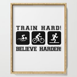 Triathlon Train Hard Gift Serving Tray