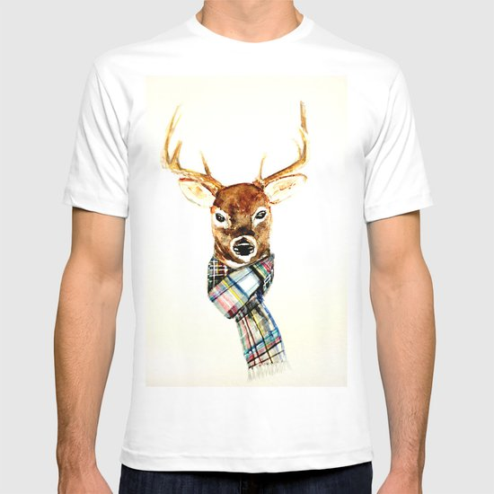 Deer buck with winter scarf watercolor t shirt by for Two bucks t shirts