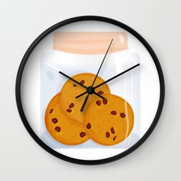 Chocolate chip cookie, homemade biscuit in glass jar Wall Clock
