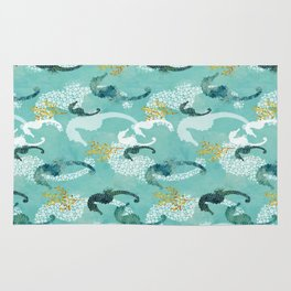 Teal Pointillism Seahorse Rug
