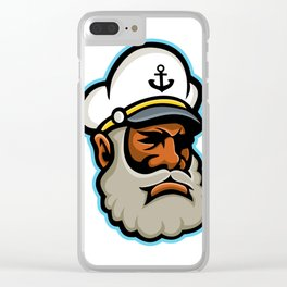 Black Sea Captain or Skipper Mascot Clear iPhone Case