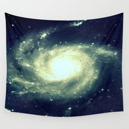 Ivory Teal Pinwheel Spiral Galaxy Space Wall Tapestry