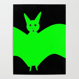 Green scary bat Poster