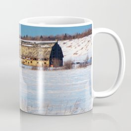 Barn gets a little glow from the Sun as it sits, waiting to be torn apart. Coffee Mug
