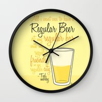 how i met your mother Wall Clocks featuring Tv drink quotes [how i met your mother] by Fabio Castro