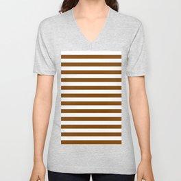 Narrow Horizontal Stripes - White and Chocolate Brown Unisex V-Neck