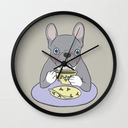 High Teas with Sweet and Cute Blue Brindle French Bulldog Wall Clock