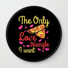 Love Triangle Pizza Slice Pepperoni Wall Clock