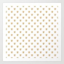 Gold Metallic Faux Foil Photo-Effect Bees on White Art Print